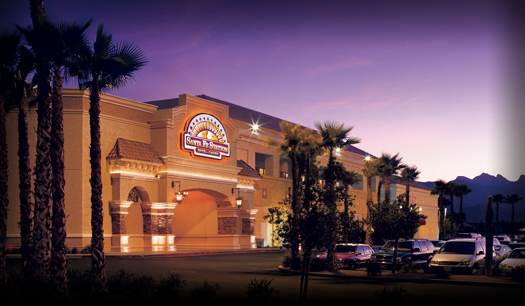 Exterior shot of Santa Fe Hotel & Casino at dusk