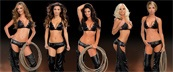 The Revolver Girls in black bikinis with chaps and lassos